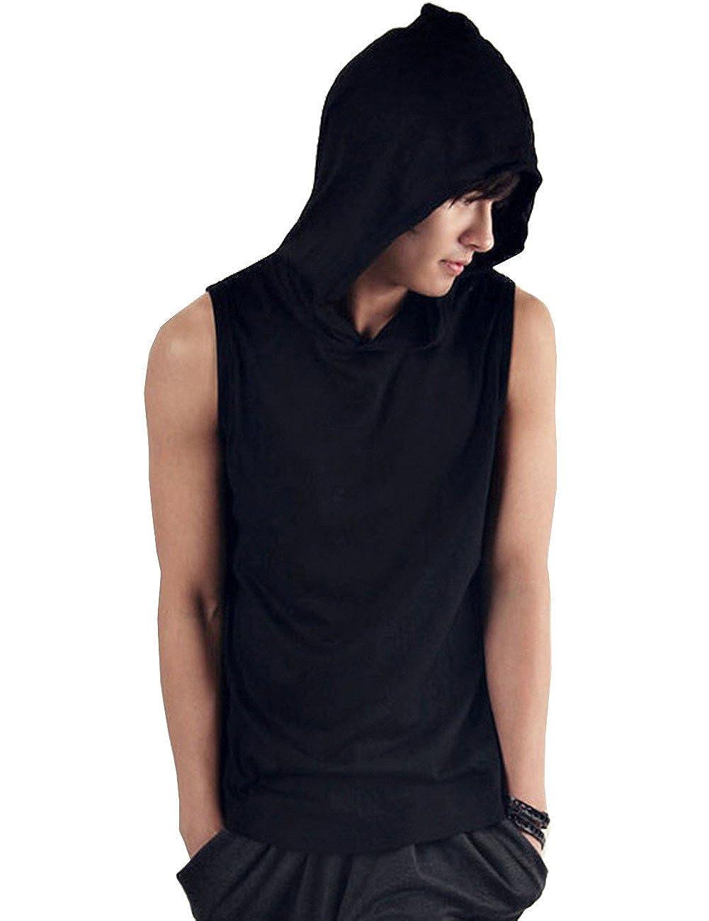 Yollmart Mens Casual Hooded Sleeveless Tank Tops Vest Black