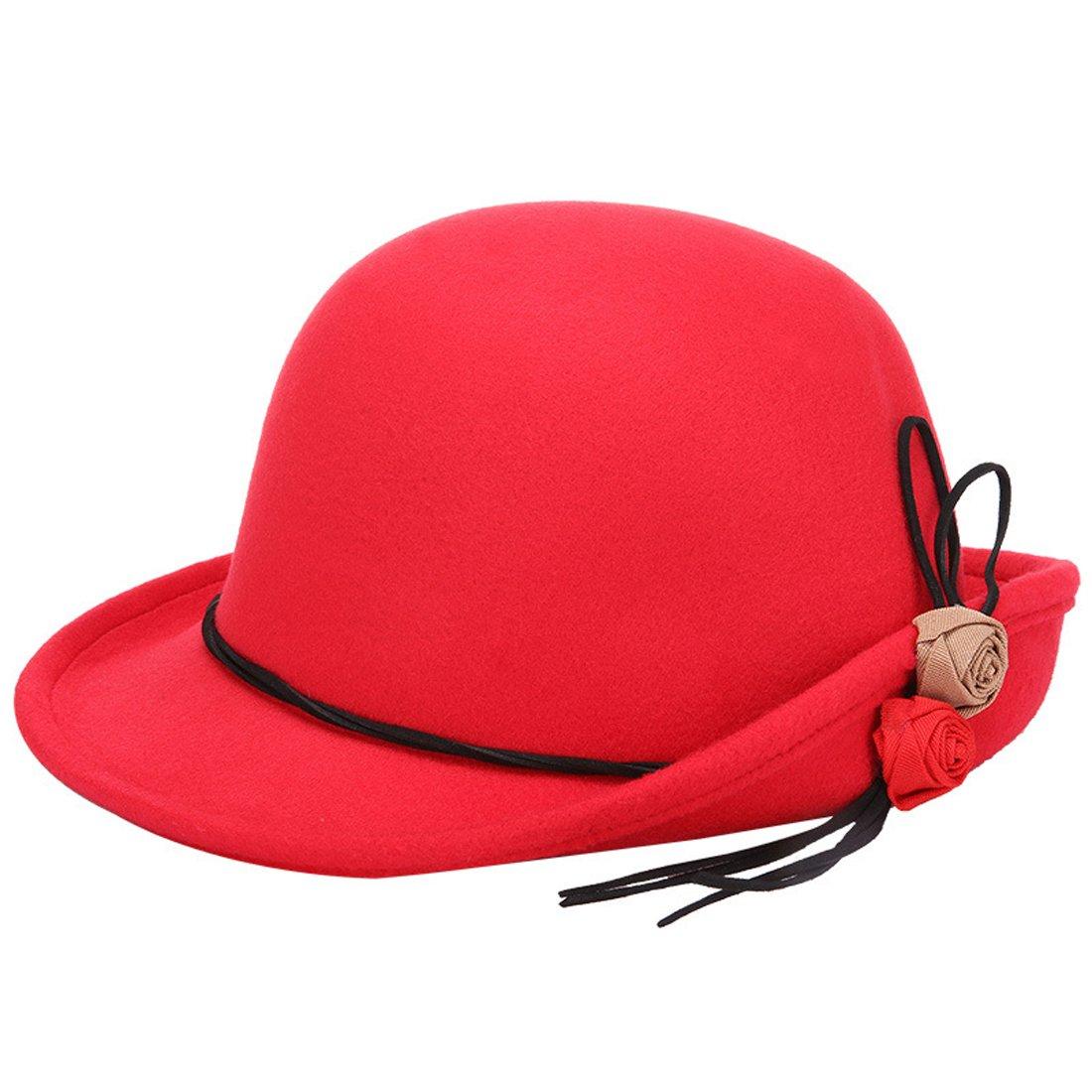 KAXIDY Women Ladies Vintage Wool Cloche Hats Bowler Bucket Caps Hat KS51129