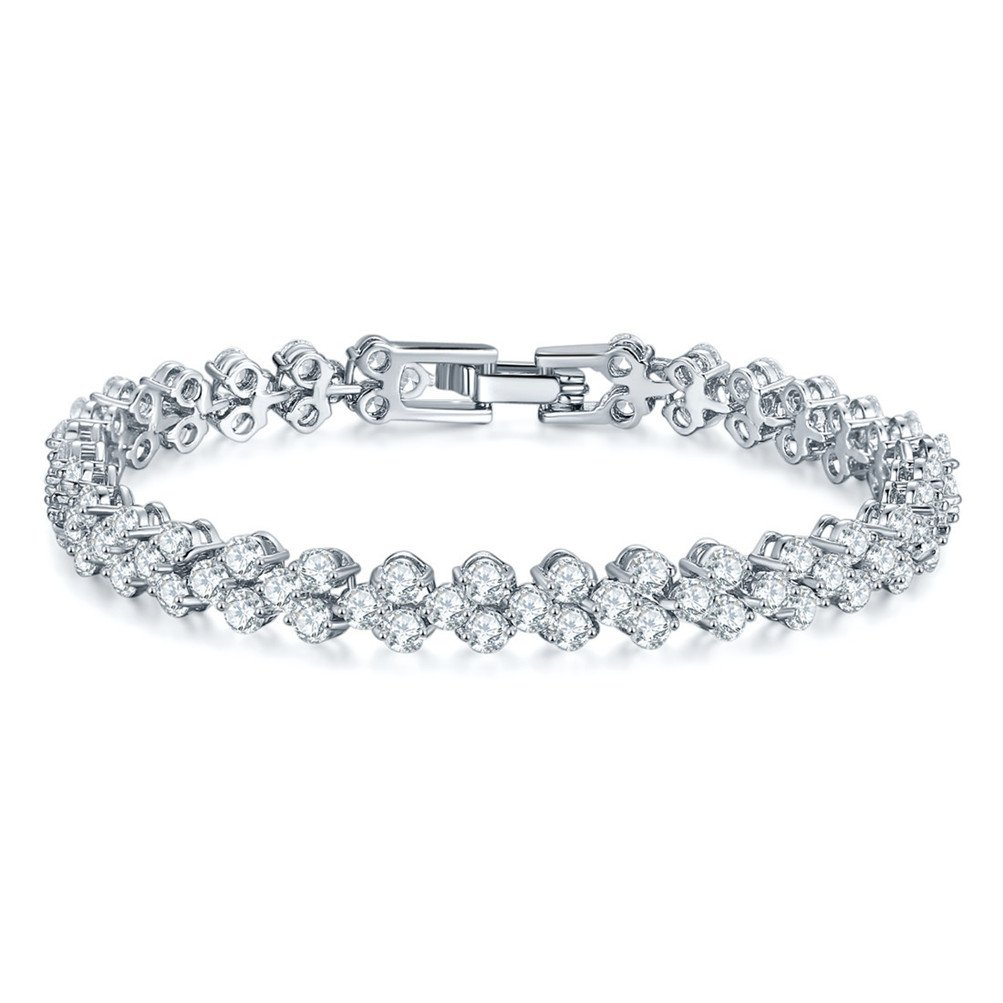 Mrsrui Shining Crystal Link Hand Chain Bracelet ''A Little Lucky'' Graduation Gifts for Her (B) by Mrsrui