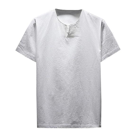 Lenfesh Camisetas Cuello Redondo Manga Corta Hombres Basicas Camiseta Verano Talla Grande Blancas Negro M-