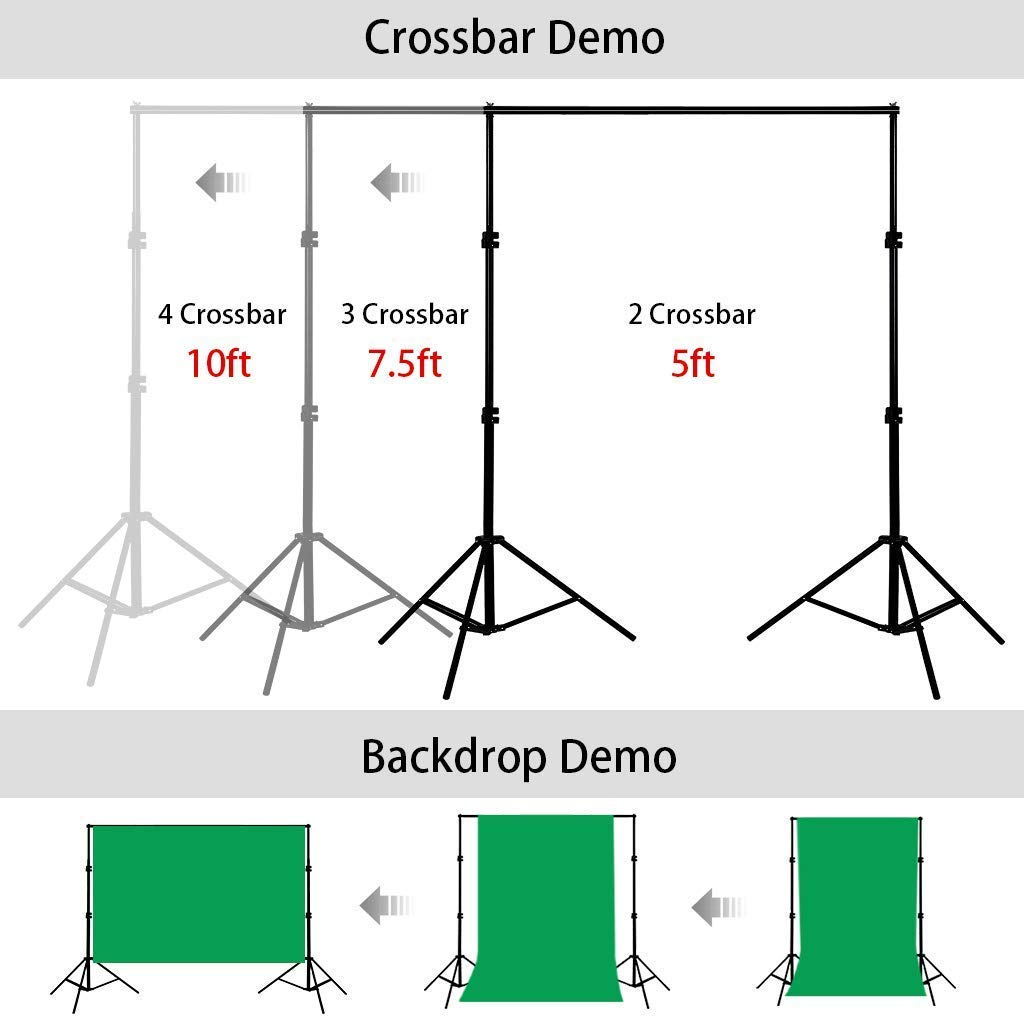 CRAPHY Portable Photo Studio 10 x 6.5ft Background Stand Kit Backdrop Support System with Muslin Cotton Background (Green Black White, 9ft x 6ft) and Carrying Bag by CRAPHY (Image #7)