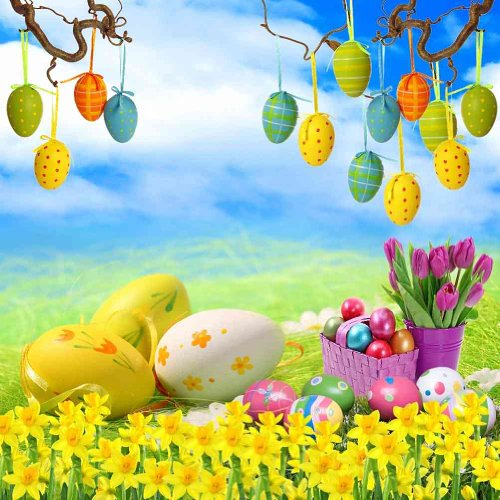 GladsBuy Painted Eggs 10' x 10' Computer Printed Photography Backdrop Easter Theme Background ZJZ-399