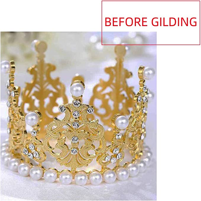 SACALA 2 piezas peque/ñas de corona dorada decoraci/ón para tartas de boda corona de perlas vintage King//Princesa para decoraci/ón de fiesta de cumplea/ños