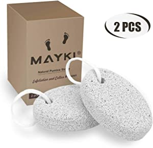 Pumice Stone 2 Pcs, Natural Lave Pumice Stone for Feet/Hand, Small Callus Remover/Foot Scrubber Stone for Men/Women by MAYKI