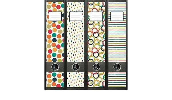 4 archivadores Retro circular glosario carpeta carpeta vinilo decorativo adhesivo 472: Amazon.es: Oficina y papelería