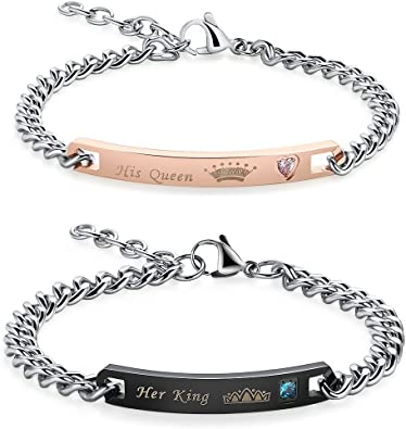 Men and Women Love Bangle His Queen Her King Couple Bracelets Stainless Steel