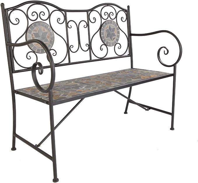 Linder Exclusivo banco de jardín con mosaico, banco de hierro y piedra, gris, 2 plazas: Amazon.es: Jardín