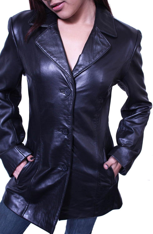 Women's 3 Buttons Black Blazer Jacket Genuine Leather Italian ...