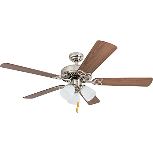 Portage Bay 50256 52 Stannor LED Ceiling Fan with 3 arm Light, Frosted Glass Fixtures, Brushed Nickel