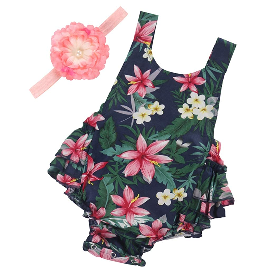 191e372dbc9f8 PrinceSasa Baby Girl's Floral Print Ruffles Romper Summer Clothes with  Headband