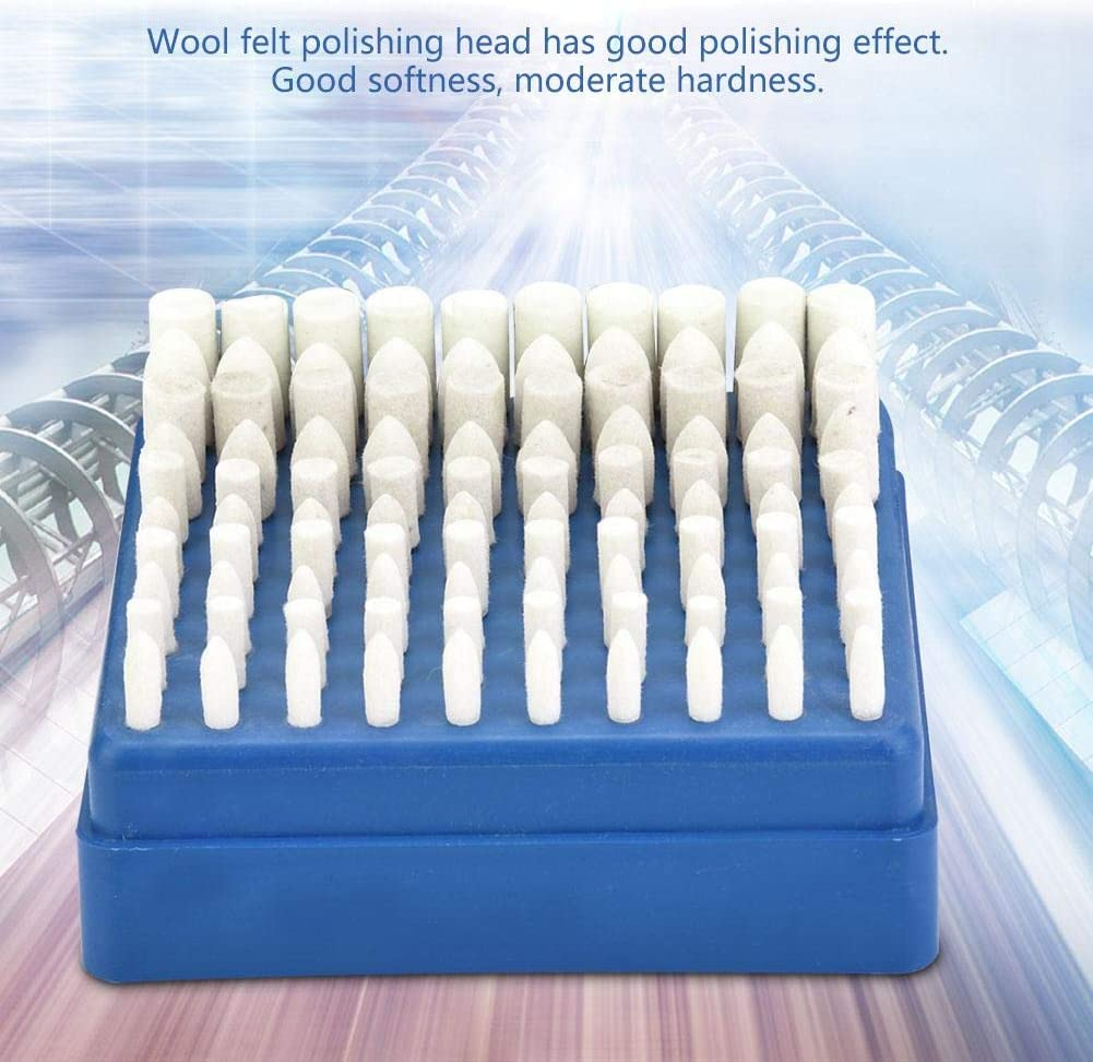 Wool Grinding Head 100pcs 4-10mm Wool Felt Head Polishing Griding Bit 3mm Shank for Rotary Tool