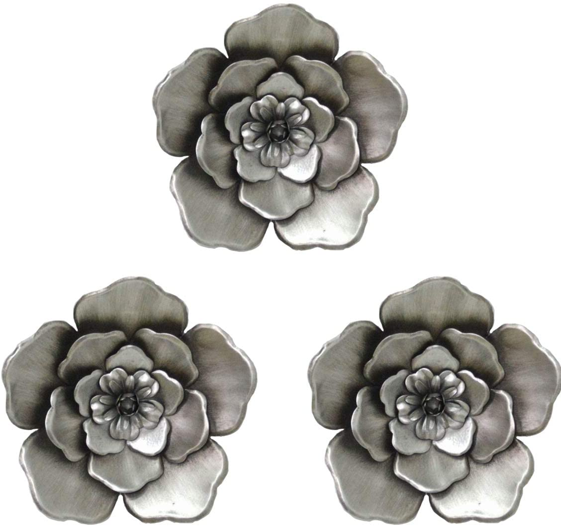Metal Flower Wall Art Multiple Layer Decor for Indoor Outdoor Home Bedroom Living Room Office Garden Set of 3(Sliver)