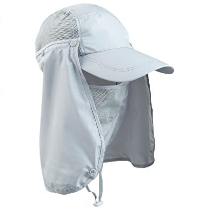 d3d02315597 Image Unavailable. Image not available for. Color  squaregarden Sun  Protection Fishing Caps for Men Flap Hats with Removable Neck Face ...