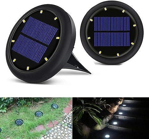 Luces Solar De Tierra Luz 8 LED,Versión Innovadora Exterior Tierra Blanco IP65 Impermeable Solar Luz, LED Foco Lámparas Solares para Jardín, Escalera, Paisaje, Calzada Y Terraza,Black,2Pcs: Amazon.es: Hogar