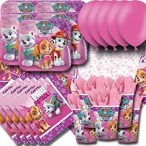 Paw Patrol Pink Party Pack For 16 - Plates, Cups, Napkins, Balloons and Tablecovers by Signature Balloons