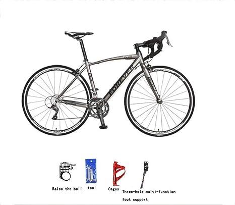 Bicicleta de montaña Estacionaria for bicicleta de montaña carretera Bicicleta de carreras 16 Velocidad de frenos IntoBrake mango del bastidor bici del camino 700C aleación de aluminio de la curva de: Amazon.es: