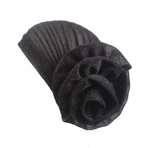 TRENTON Solid Color Head Wrap -Stretch Long Short Hair Scarf Glitter Turban with Big Flower
