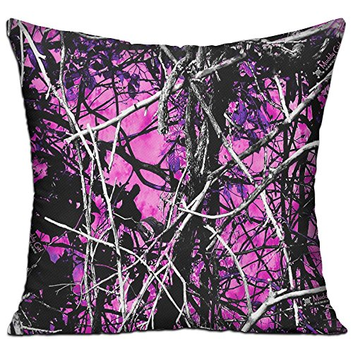 WUMIARUA 100% Cotton Pillowcase Cushion Cover Muddy Girl Camo Pink Athletic Art Home Decor Sofa Throw Pillow Cover - Double-sided Color Printing