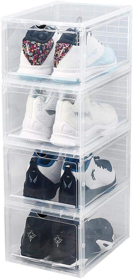 4Pcs Cajas De Zapatos De Plástico Transparente Apilable Contenedores De Almacenamiento Con Tapas Organizador De Caja De Zapatos Tipo Cajón Para Damas Y Hombres Vitrina De Colección Ahorro De ,Clear