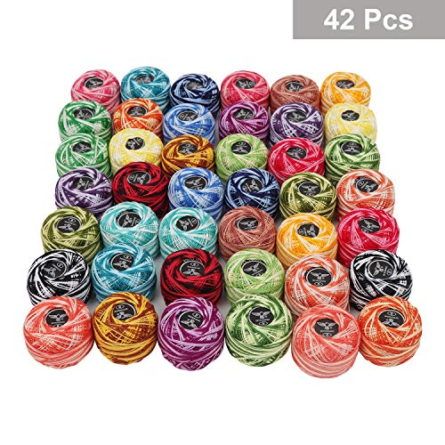 Crochet Thread 42 Pcs - Stripy Design Cotton Knitting Yarn in an Assortment of Colors - Each 5 Grams /1995 Yards in Total - Crochet Thread for Patterns, Knitting Projects and Applique
