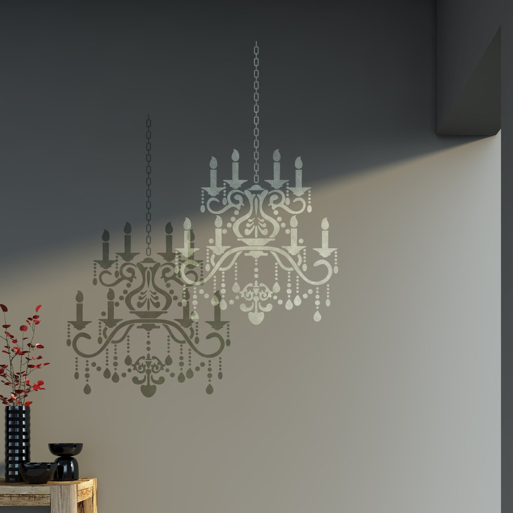 Amazon j boutique stencils wall stencil crystal chandelier amazon j boutique stencils wall stencil crystal chandelier template for diy decor better than decals arts crafts sewing mozeypictures Images