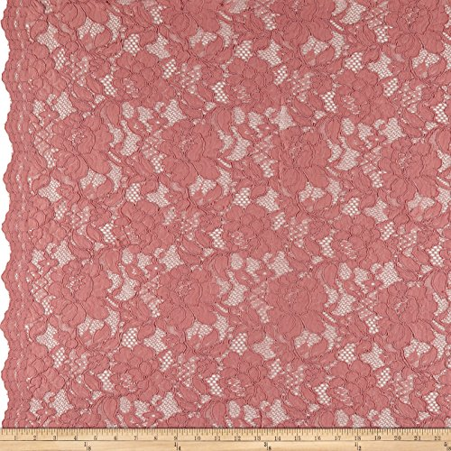 Ben Textiles Heavy Corded Chantilly Lace Rose Fabric by The ()
