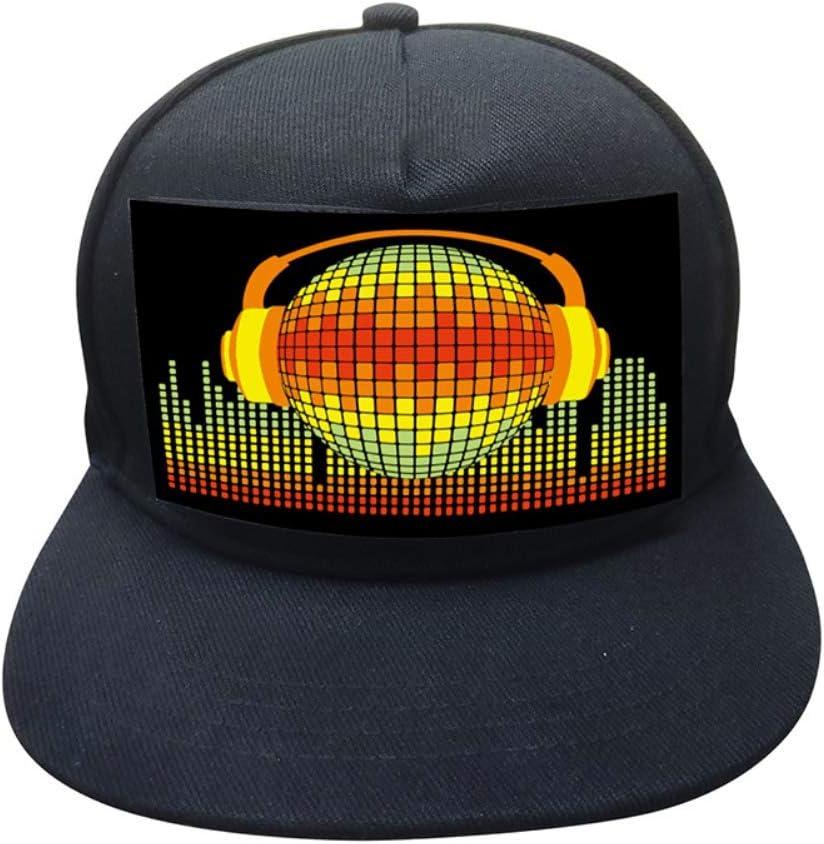 Yinrunx LED Flashing DJ Caps with Sound-Activated Rave LED Panel Rave Light up Disco Hat