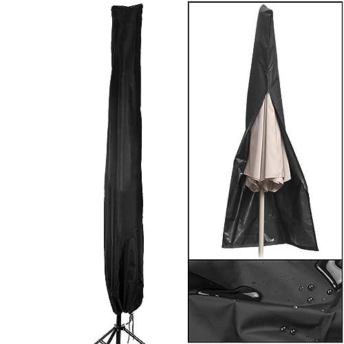 Parasol Cover,Nexlook Weatherproof Waterproof Outdoor Patio Zipper Parasol Umbrella Cover For Diameter 3M Parasols,Black 210D Oxford Fabric, With Storage Zipper Bag