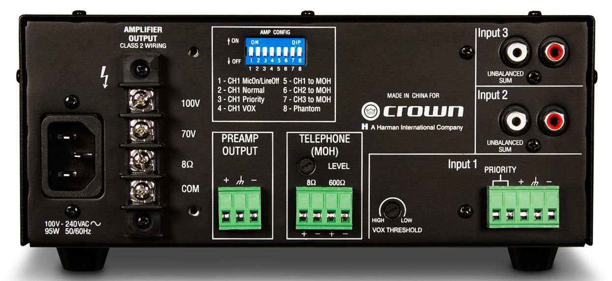 Amazon.com: Crown 160MA Mixer Amplifier 4 Inputs 60 Watt Amplifier 70/100 Volt: Home Audio & Theater