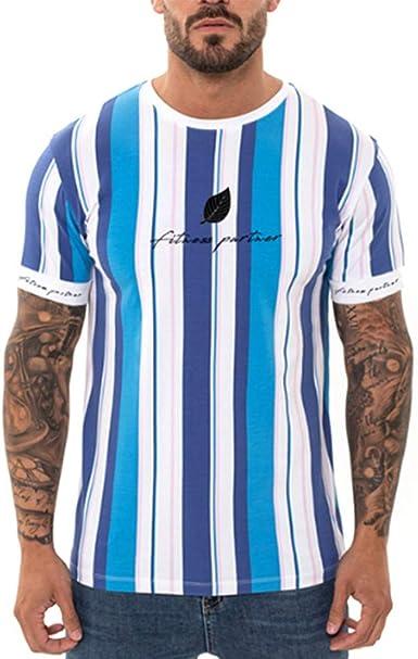 Brillanto Camisetas Hombre Manga Corta Verano Raya Basicas Camisa Hombre Slim Fit Gym Blusas para Hombre Deporte: Amazon.es: Ropa y accesorios
