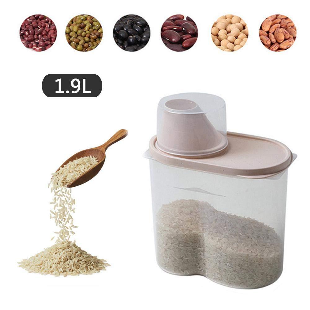 Fagioli Farina Umiwe Contenitore Cereali Contenitori Distributore Conservazione Alimentare Ermetico Contenitori in Plastica con Coperchi Ermetici per Conservare Riso 1.9L