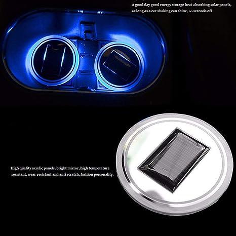 Moliies Universal Solar LED Car Holder Portavasos Antideslizante Impermeable Pad Botella Bebidas Coaster Atmósfera Lámpara para Coche SUV Camión: Amazon.es: ...