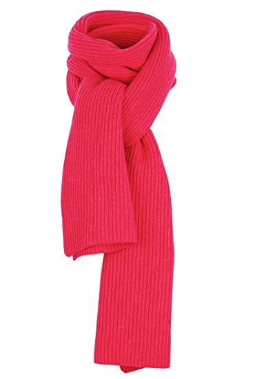 67ed11396f3f6d Scottish Pure Cashmere Chunky Knitted Ribbed Scarf in Queen Pink:  Amazon.co.uk: Clothing
