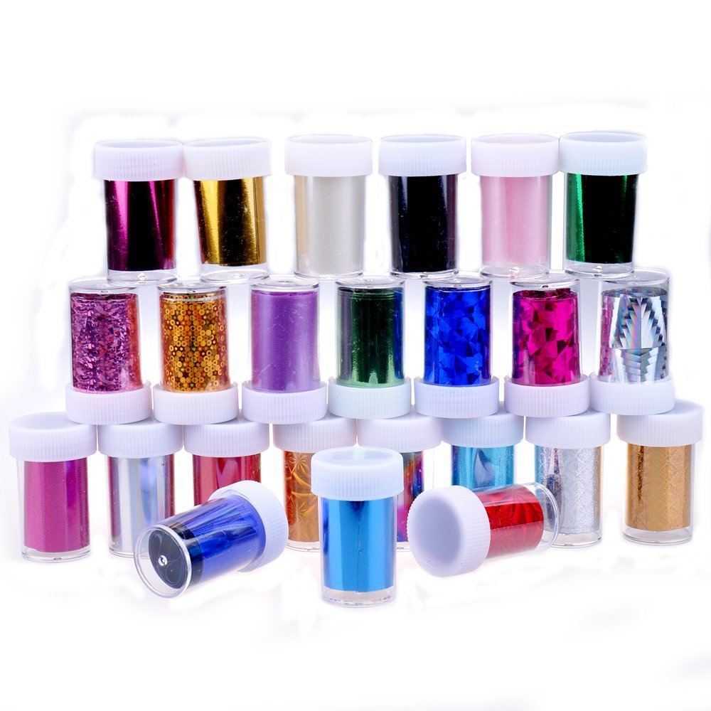 Juego de 24 36 rollos de lámina de transferencia de colores para decoración de uñas (24 colores) Grifri