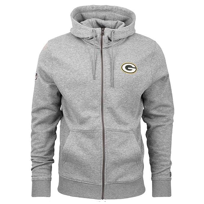 56ec1a24a New Era Green Bay Packers NO 19 Full-Zip NFL Hoodie Grey  Amazon.co ...