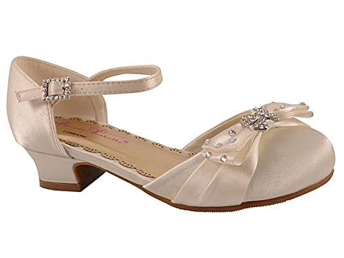 GIRLS SILVER GLITTER DIAMANTE BRIDESMAID WEDDING PARTY SANDALS SHOES UK SIZE 6-3