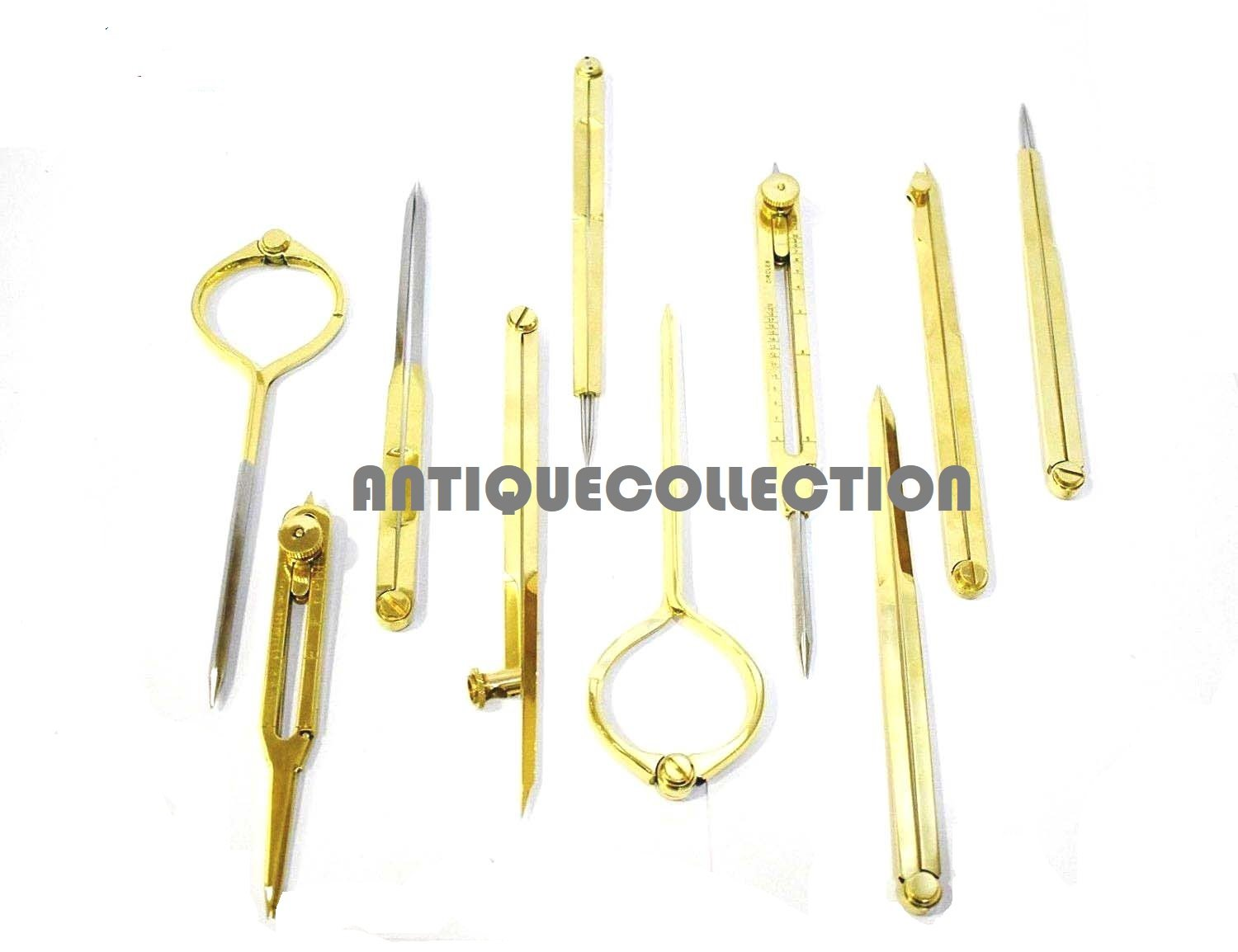 Set of 10 Brass Drafting tools Scientific Instruments Measuring Tools Dividers