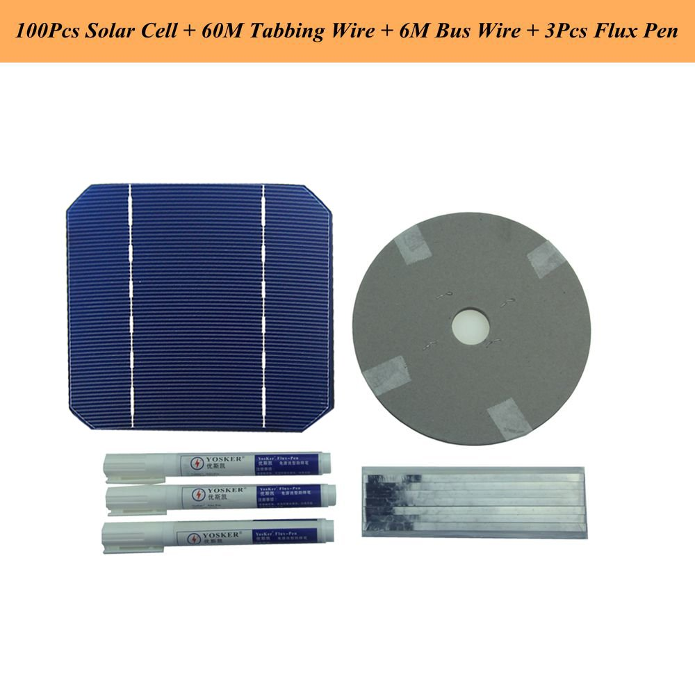 VIKOCELL Kit del panel solar de DIY 10pcs 5x5 Mono cé lula solar con el alambre de 20M Tabbing Cable de barra 2M y la pluma del flujo 1pc