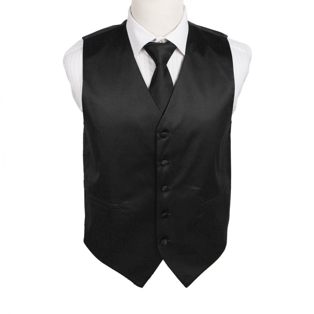 DGDE0001-S Black England Designer Solid Microfiber Satin For Working Day Vest Matching Neck Tie By Dan Smith