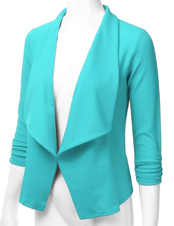 S-3XL EIMIN Womens Lightweight Stretch 3//4 Sleeve Blazer Open Front Jacket