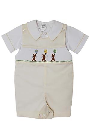 63b77439b Amazon.com: Baby Boys Easter Bunny Shortall with Hand Smocked Balloons  Yellow: Clothing