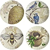 Creative Co-op Birds and Bees 8.75-inch Stoneware Plates, Set of 4