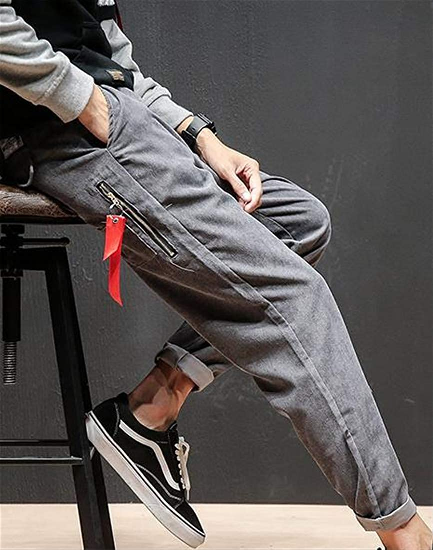 Pandapang Men Elastic Waist Corduroy Sport Drawstring Casual Harem Thicken Ankle Pants