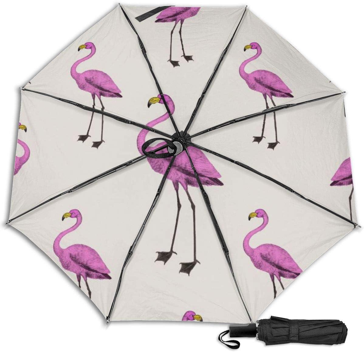 Pink Flamingo Wallpaper Windproof Travel Umbrella Manual Tri-fold Umbrella