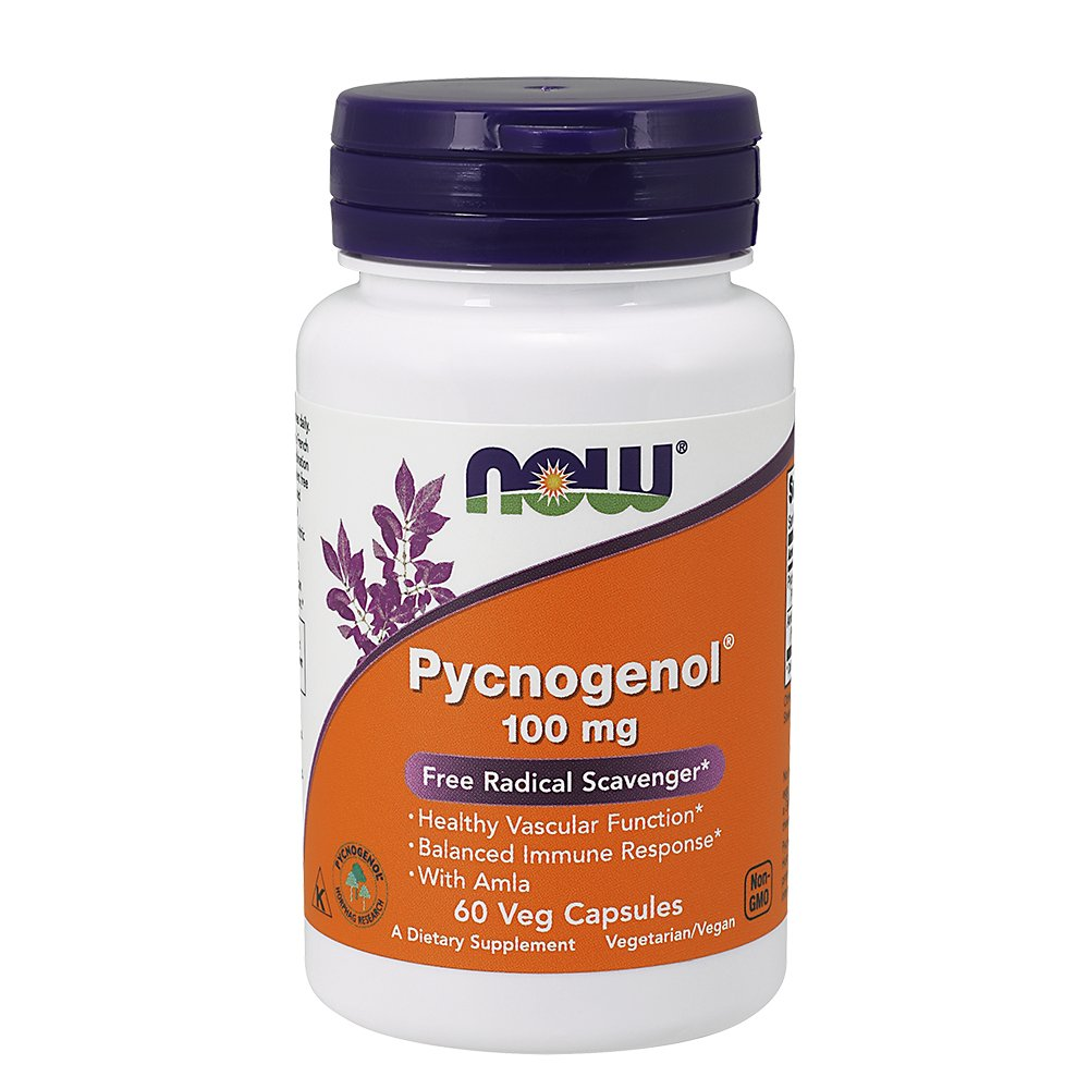 NOW Supplements, Pycnogenol 100 mg (a Unique Combination of Proanthocyanidins from French Maritime Pine) with Amla, 60 Veg Capsules by NOW
