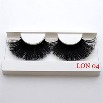 a024f4af57b Amazon.com : 100% Real 5D Mink Fur 25mm False Eyelashes Thick Long Cross  Eye Lashes Extension (LON 04) : Beauty