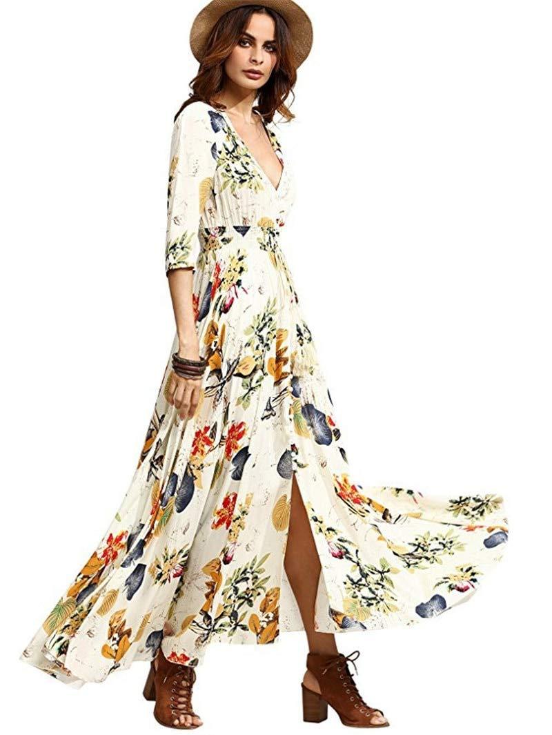 Beige 2 QLJ02 Robe d'été pour Femme bohème élégante Longue Robe de Plage Longue Robe Noire midi Vert Floral Flowy Prairie Maxi Ladies Dress L