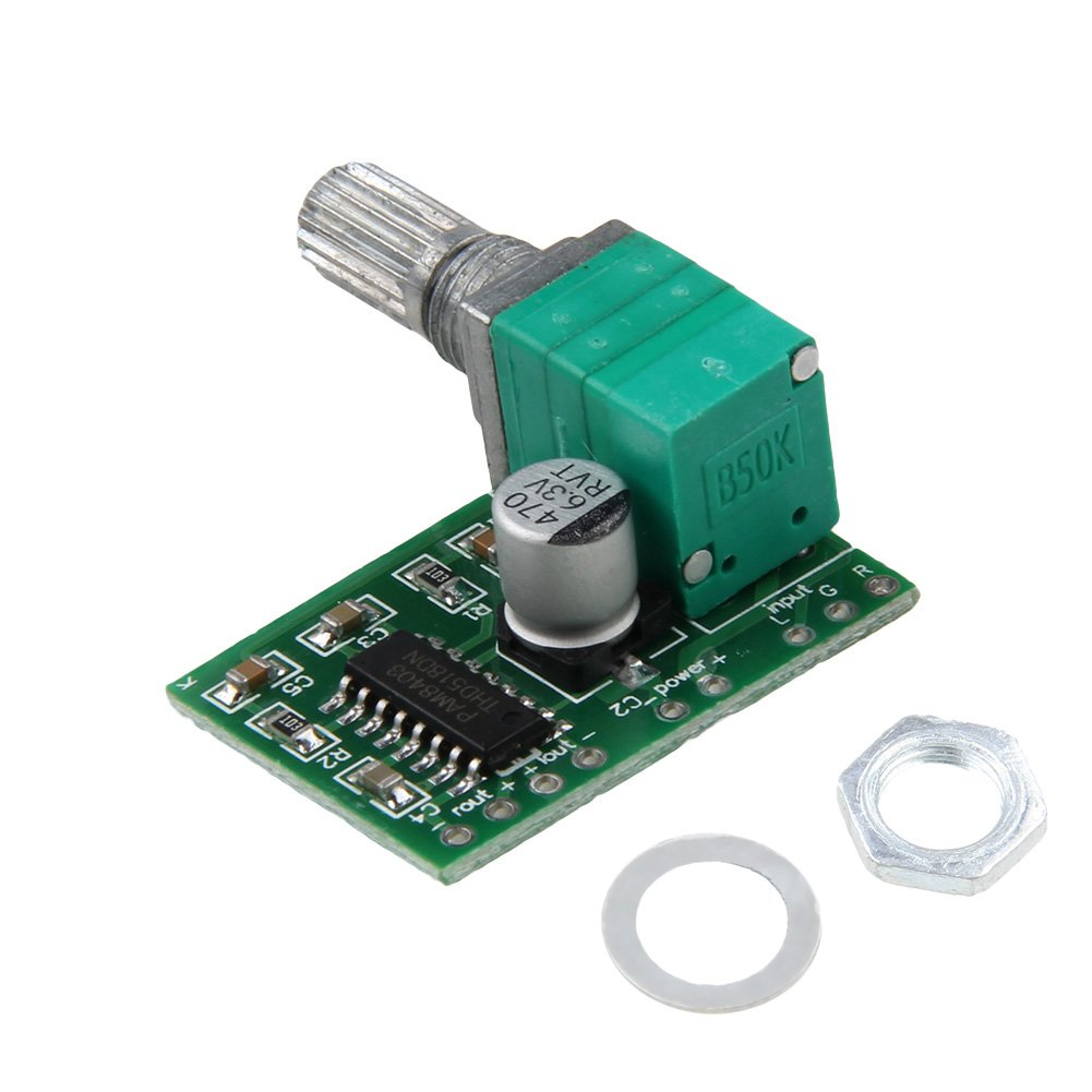 RUNRO Mini PAM8403 Audio Amplifier Board 5V 2 Channel USB Power 3W Volume Control RUNRO6A10215