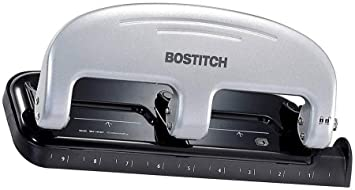 - 2 Pack Silver Bostitch inPRESS 20 Reduced Effort Three-Hole Punch 2220 Black