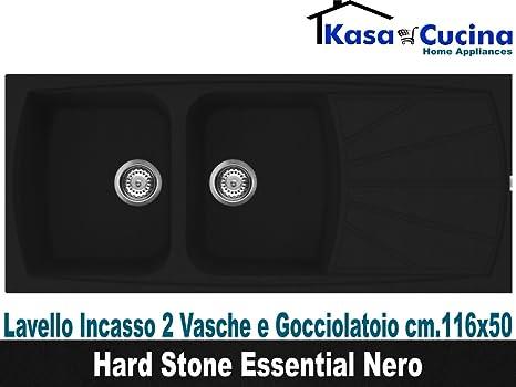 lavello incasso cucina hard stone essential fragranite 2 vasche e gocciolatoio cm116x50 granito nero
